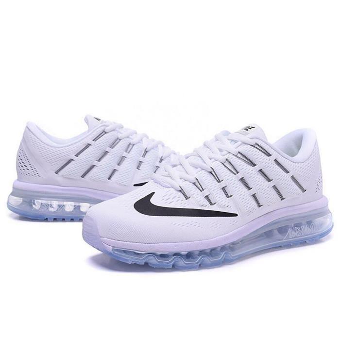 Hommes Nike Air Max 2016 Chaussures de running noir blanc TU
