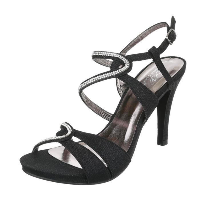 Femme chaussures sandales Strass occupé High Heels escarpin noir 41