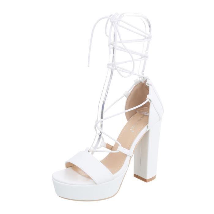 Chaussures femme sandale à talons hauts Plateau High Heels lacetung blanc 41