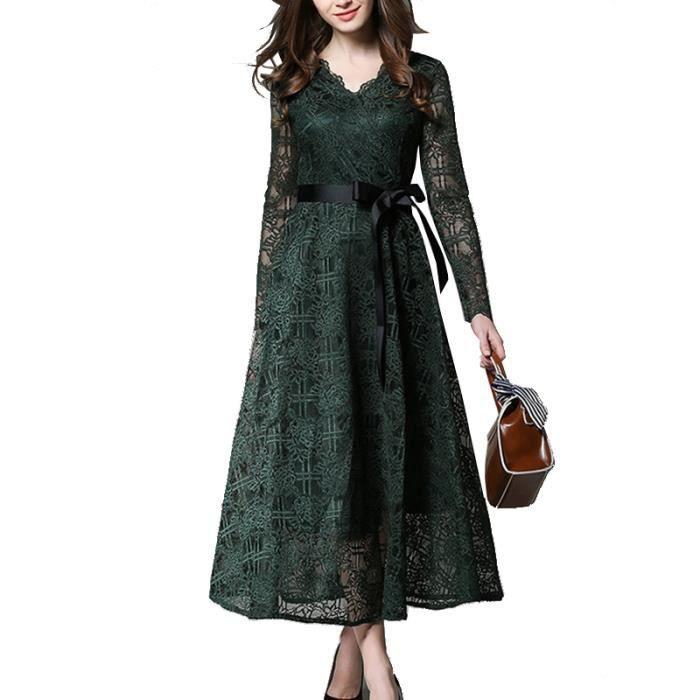 FLAVOR SIMPLE femme dentelle fit Robe slim col en manches automne ceinture longues mode Vert V fdxxwqO6