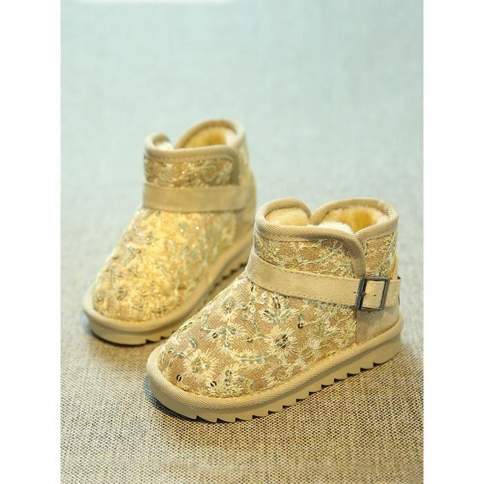 Enfants coton rembourré Chaussures Mid Top Suede Semelle en caoutchouc Paillette bottes courtes Décore 10714770 yYXZr6