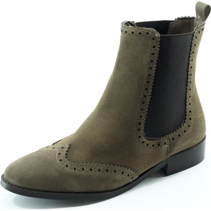 Suchet - Bottine Chelsea talon plat chaussures Femme marque Angelina cuir velours taupe beige