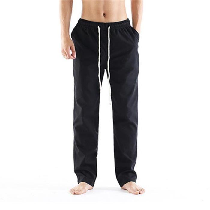 2ca83a65e0c3 Pantalon Homme Lin Respirant Taille Elastique Tissu Confortable Pantalon  Été Style Ample