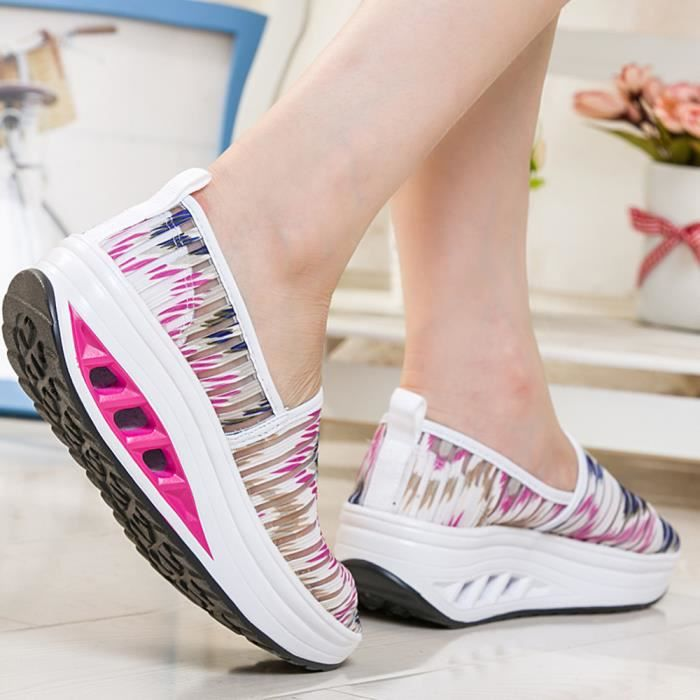 Plate Casual Femmes Sport Mesh forme Shake Vif Basilesmile rose De Fitness Espadrille Chaussures Lady TqqExw81