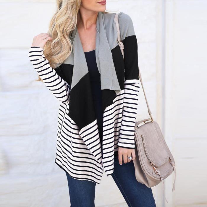 Manteau Manches Avant À Veste Tops noir Femmes Longues Gilet Ouvert Stripe Outwear pwRYX
