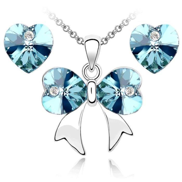 Parure noeud et coeur cristaux swarovski elements plaqué or blanc Couleur Bleu turquoise
