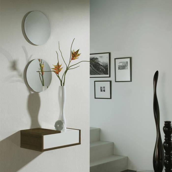 meuble entree suspendu avec miroir achat vente pas cher. Black Bedroom Furniture Sets. Home Design Ideas