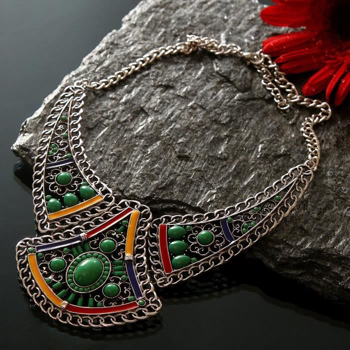 Femmes fini Antique style bohème perles vert métallique Collier ras du cou de mode pour etMOJZO