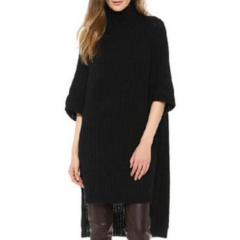 Wecheers®Pour femme tortue cou moelleux robe pull en mailles surdimensionné long