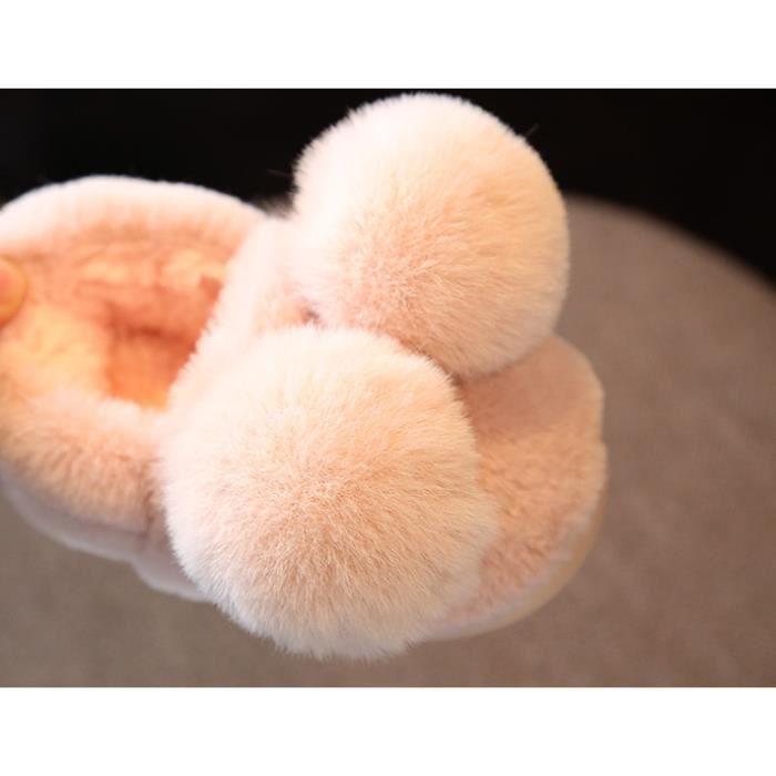Chaussures pour enfants Peluche Pantoufles Chaussons Hiver Slipper Balle en peluche Shoes Taille adapté pour 1-7 ans