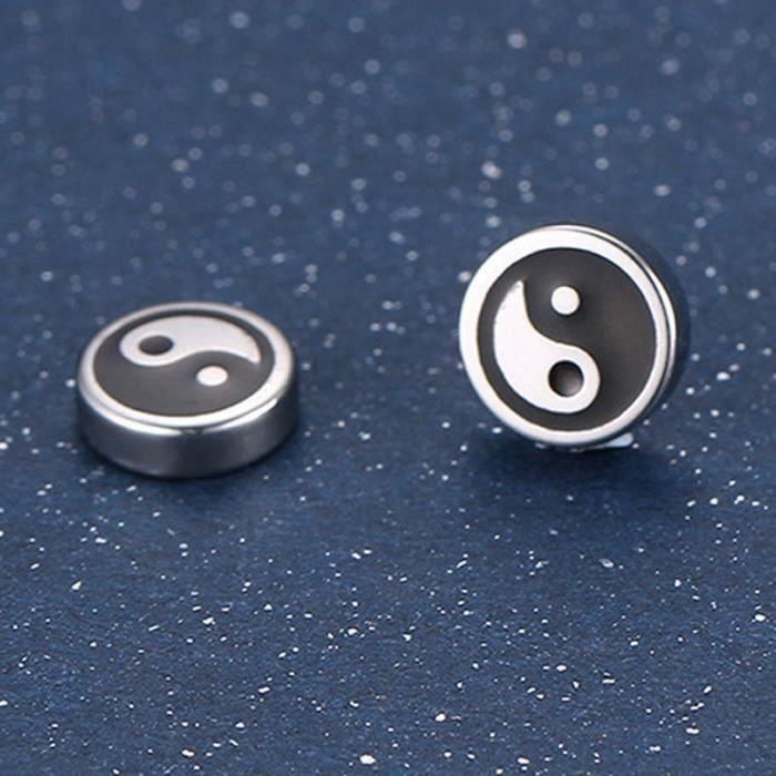 1 paire ronde ton argent en acierinoxydable Ying Yang Tai Chi Boucles doreilles