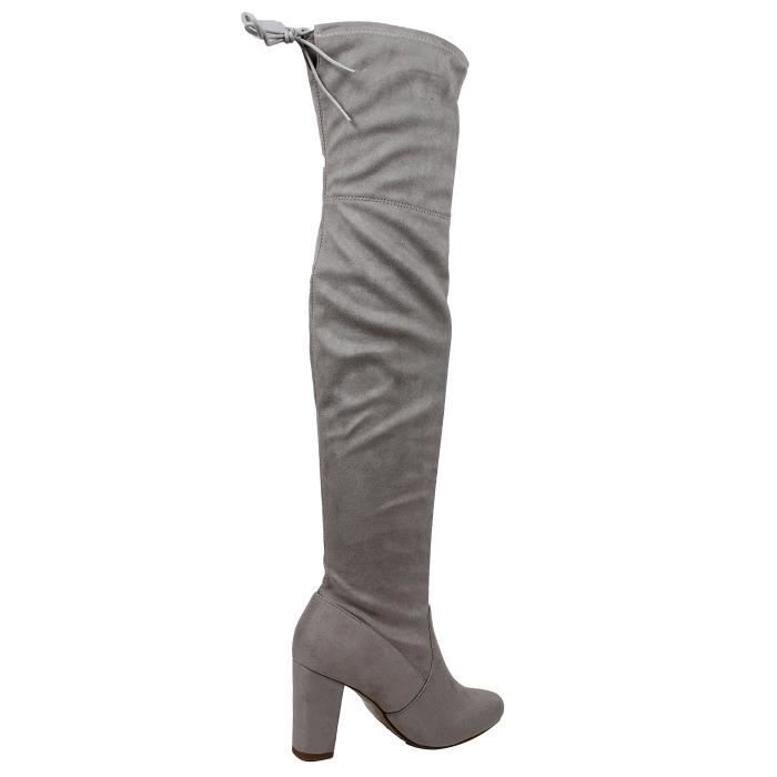 Delicious Faux Suede Back Tie Over The Knee Chunky High Heel Dress Boot FOFFV Taille-38 1-2 ZgPZ7