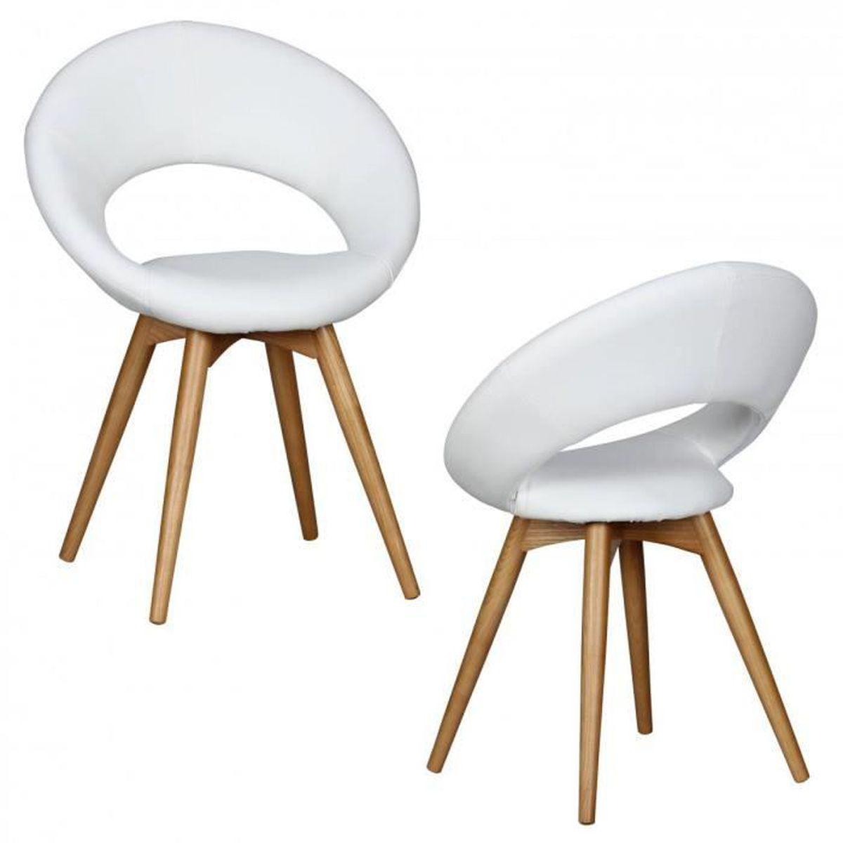 2x salle delinda manger chaise scandinave synthtique sellerie cuir blanc - Chaise Scandinave Cuir