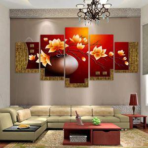 OBJET DÉCORATION MURALE 5 panneaux imprimés toile peinte Magnolia fleur va