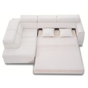 Canapé D Angle Convertible Rose 3nllg Cuir Blanc Achat Vente