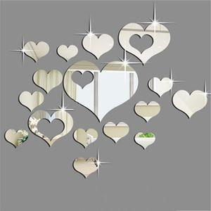 OBJET DÉCORATION MURALE 3D autocollants muraux 16PCS miroir coeurs décorat