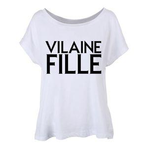 bb2870290a9ac T-Shirt femme blanc coupe fluide orné de l insulte rétro  Vilaine Fille   écrit en lettres noires.