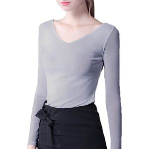 BIGOOD T-shirt Col V Femme Tulle Top Manches Longues Blouse Chemise ... 014ea570281
