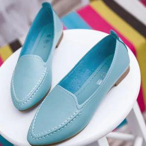 XZ652C6XZ652C6Les nouvelles femmes mignon Slip Casual Le Ballet Pointy Toe PU Chaussures plates en cuir lAtq0