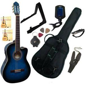 GUITARE PACK Guitare Électro-Classique Bleue Cordes D'adda