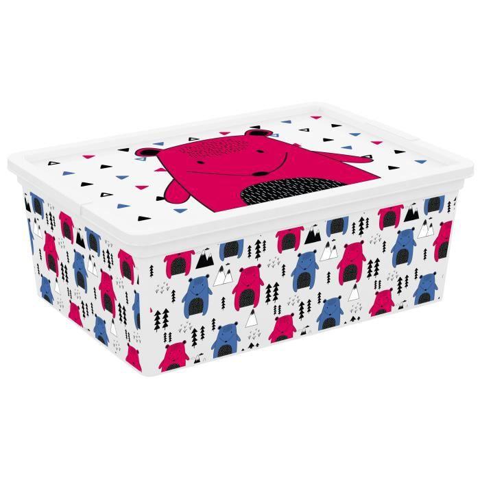 C BOX STYLE Boîte de rangement pour enfant Hipster - 11 L - 37 x 26 x 14 cm - Rose