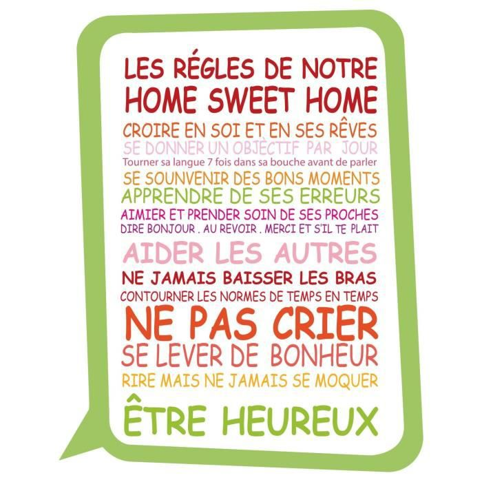 Stickers adhésif mural Les règles de notre home sweet home - Multicolore - 55x70cm