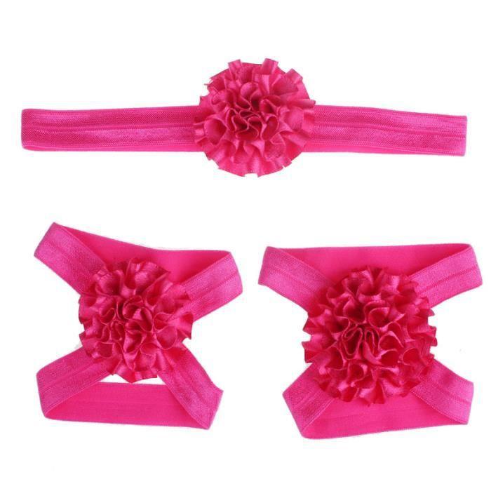 Napoulen®Pied fleurs coloré pieds nus sandales et bandeau ensemble pour bébé enfant fille-XPP10202125 BMKYxf08K