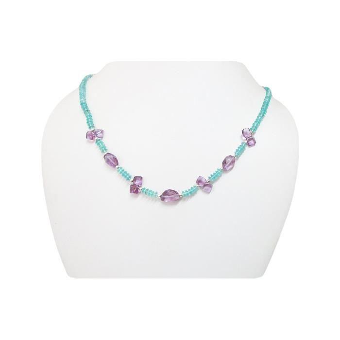 Craze Designer Améthyste & apatite collier de perles Bijoux Avec Constatations Argent Par 16