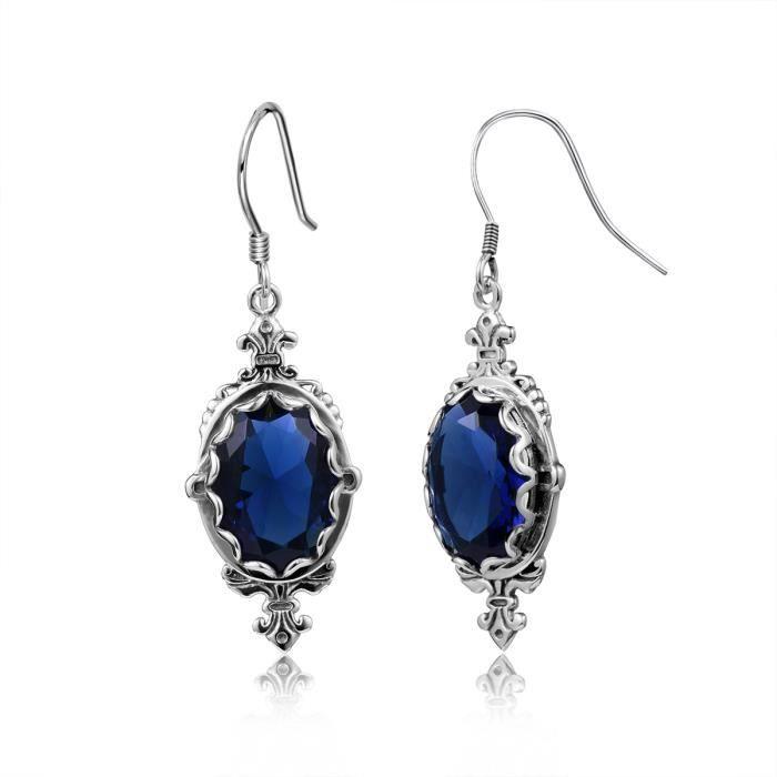 Mode Waterdrop Boucles doreilles Femme filles 1000-925 Argent square Bleu Saphir - Bleu