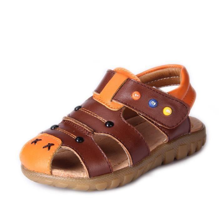 enfant garcon chaussures sandale cuirMarron