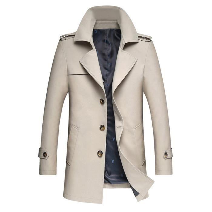 Blouson Homme Slim Trench Luxe Manteau Fit Pour Automne Business Marque Longue vZAAPq47w