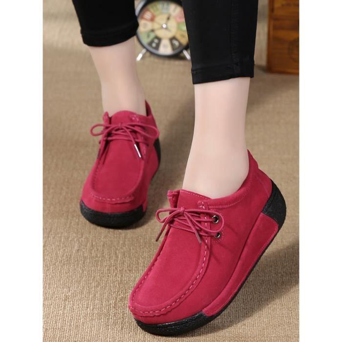 chaussures multisport Mocassins à lacets épais Sole Simple Shoes Plate-forme élégante de femmes 8912342