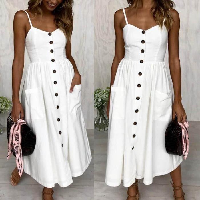 Dress Blanc Dos Haute line À Femmes A Taille Et Sexy Robe Nu Cintrée D'été Solid Bretelles SnUqrCWSwY