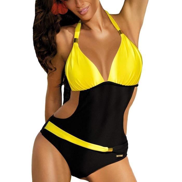 59d55cc597 Femmes Sexy Maillots De Bain Une Pièce Brésilien Bikini Halter Push Up  Rembourré Couleur Bloc Vacances D'Été Monokini Swimwear Jaune