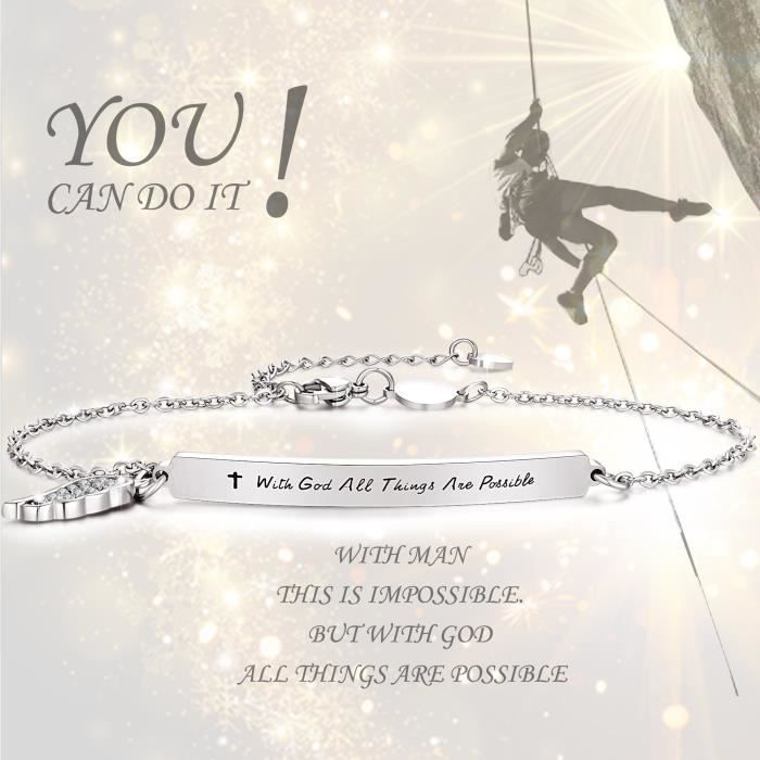 Womens Insipirational Bracelet Engraved Message with God All Things Are Possible Feather Bar Ba PDM1K