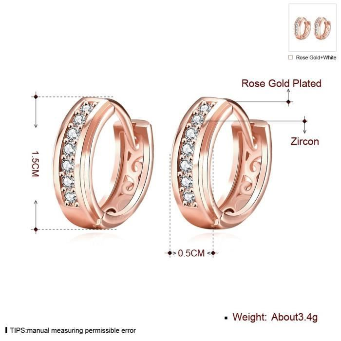 Womens 14k Gold & Rose Gold Plated Cz Cubic Zirconia 15mm Small Round Hoop Earrings BN3PJ