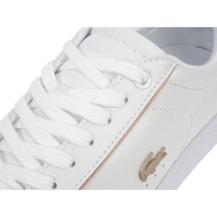 Chaussures basses cuir ou simili Carnaby evo 118 blanc or - Lacoste