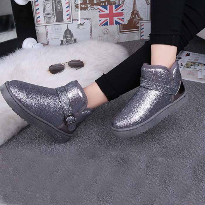 Bottes Mode Femmes Neige Chaussures Chaud gris Hiver Lady Cheville Occasionnel U0pwrUCq