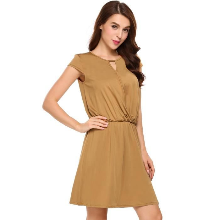 Robe Femme Casual Cap Sleeve Solid O Neck satin Surplice A-Line