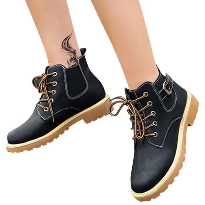 Femmes Talons Bottesll12269 Cross Bas Boucle Cheville Chaussures tied Bottes Sangle Martin Mode YnUqP7wt
