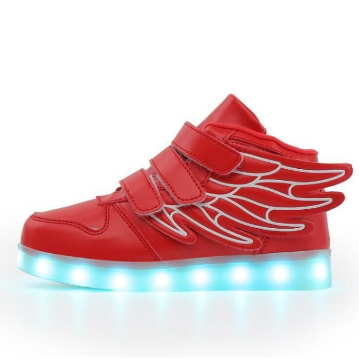 Rouge Enfant USB Charge LED Chaussure Lumineuse Ailes d'anges Baskets