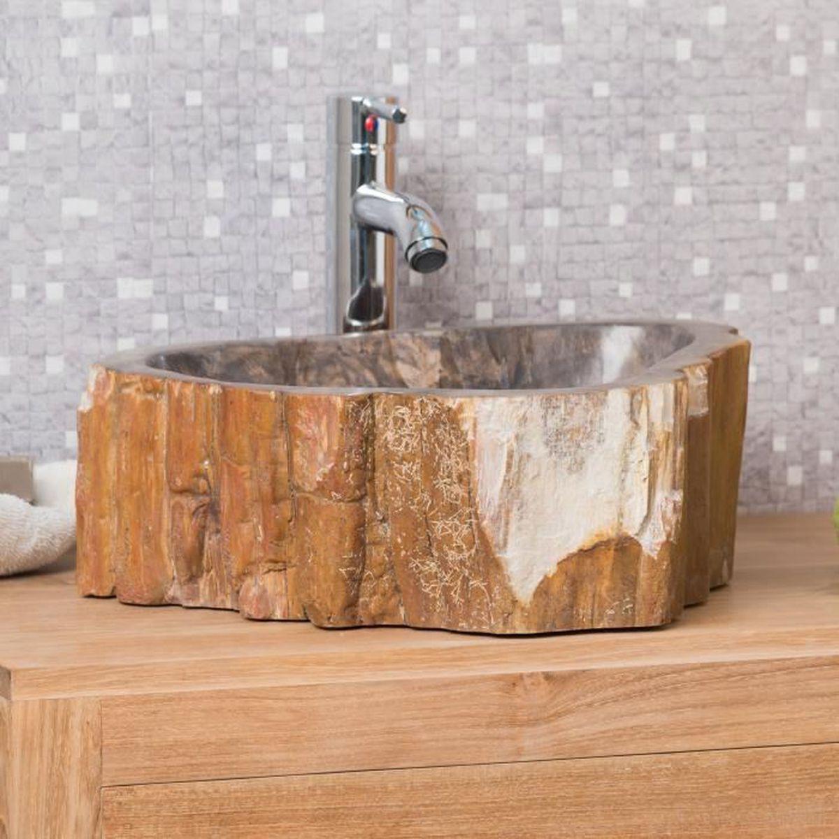 lavabo de salle de bain en bois p trifi fossilis marron 41 cm achat vente lavabo vasque. Black Bedroom Furniture Sets. Home Design Ideas
