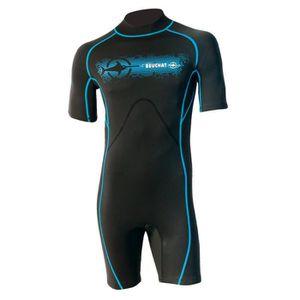 COMBINAISON DE SURF BEUCHAT Shorty surf Lagoon - Mixte - Noir et bleu