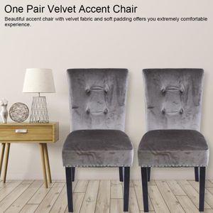 CHAISE 1 paire de 2 chaises Beata Velours Gris Chaise Mod