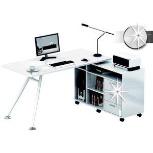 bureau d 39 angle blanc achat vente pas cher cdiscount. Black Bedroom Furniture Sets. Home Design Ideas
