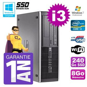 UNITÉ CENTRALE + ÉCRAN PC HP 8200 SFF Intel I3-2120 8Go Disque 240Go SSD