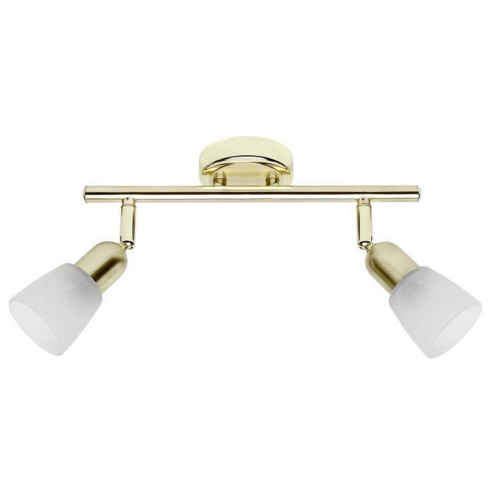Matière : métal et verre - Type de culot : E14 - Hauteur : 10 cm - Puissance : 40W - Coloris : laiton et blancSPOTS - LIGNE DE SPOTS