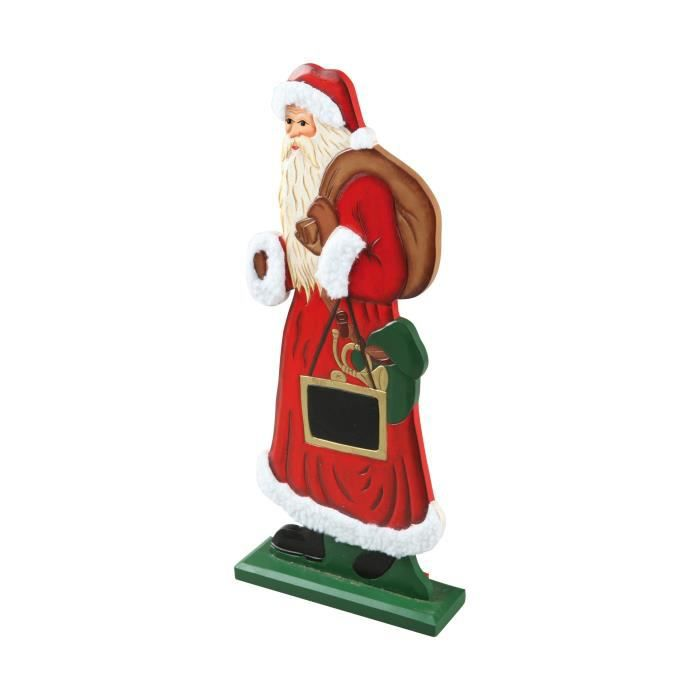 Personnage de Noël Pères Noël traditionnel avec ardoise 36,5x5,5x5cm