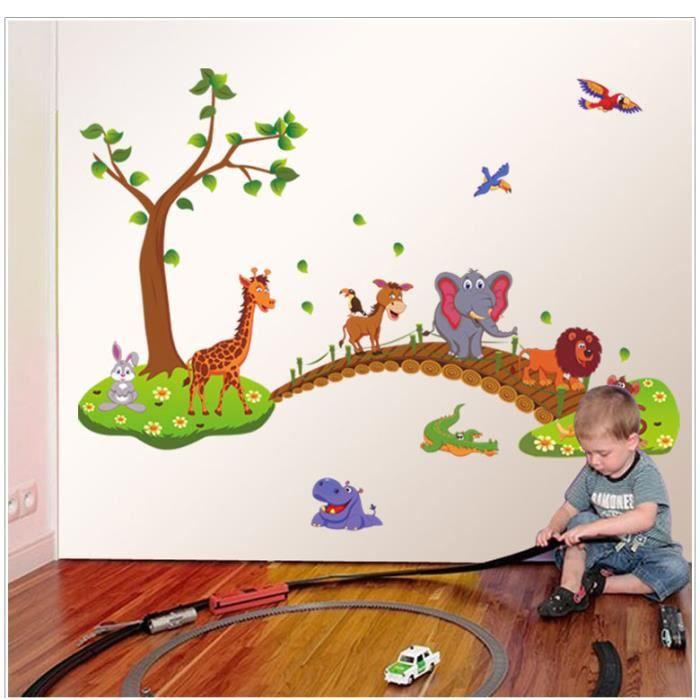 Grande Jungle Animaux Pont Vinyle Stickers Muraux Enfants Chambre Stickers  Mignon Anime Bébé Enfants Bande Dessinée 60*90cm