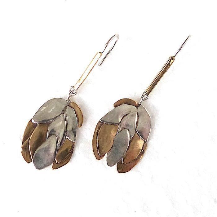 Femmes en argent massif et bronze Feuille Motif Boucles doreilles pendantes F7ETL